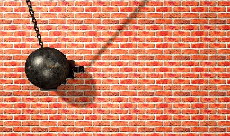 Wrecking Ball Hitting Wall royalty free stock images