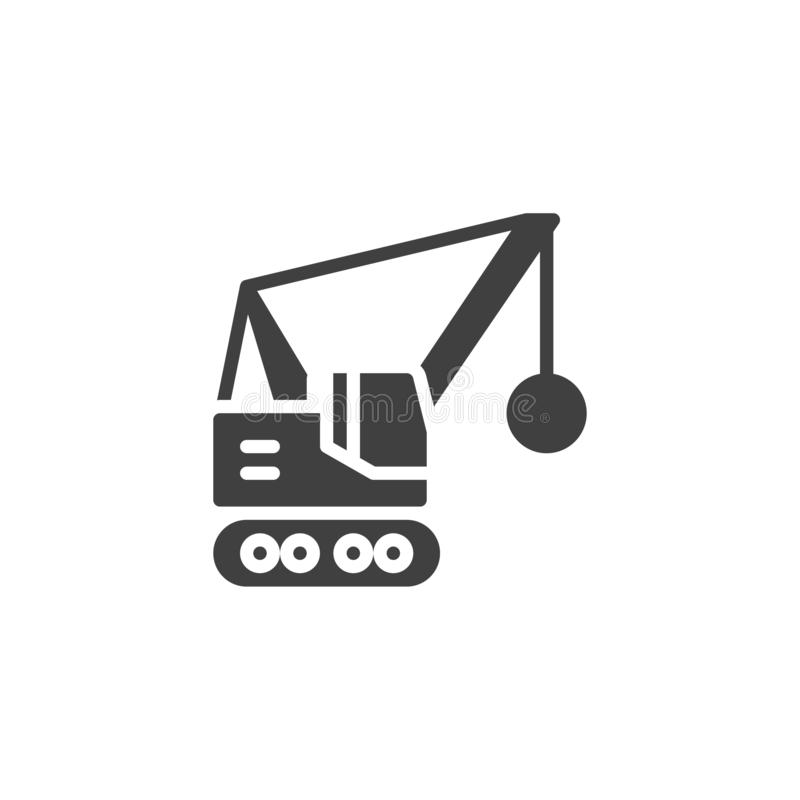 Wrecking ball truck vector icon royalty free illustration
