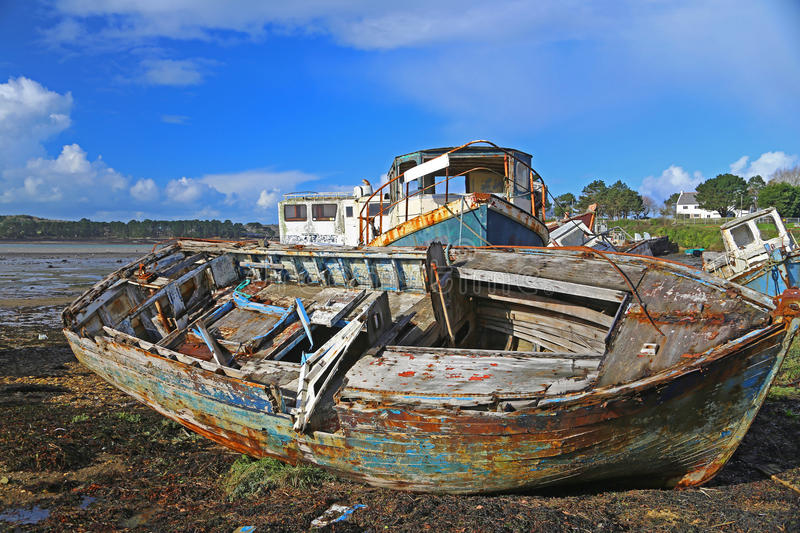 Wrecks of fishing boats royalty free stock images