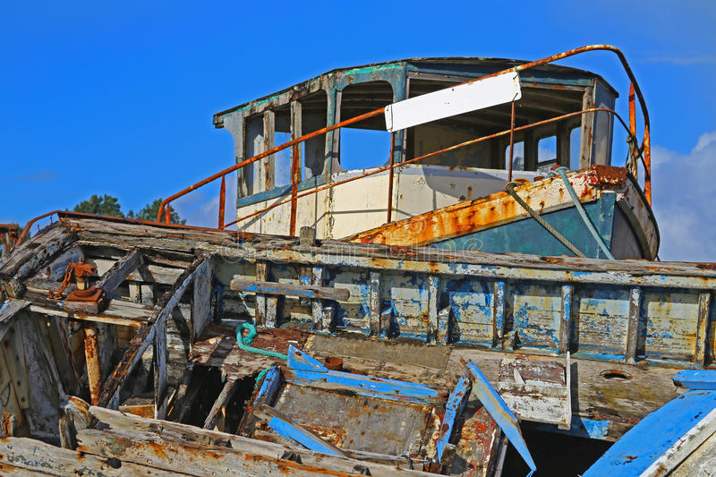 Wrecks of fishing boats stock images