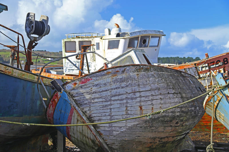Wrecks of fishing boats stock photography