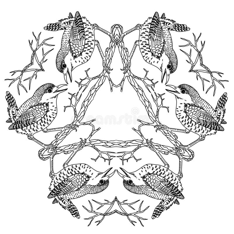 Wren birds on triangle viking mandala black and white vector illustration engraving. Wren birds on triangle viking pagan mandala black and white vector royalty free illustration