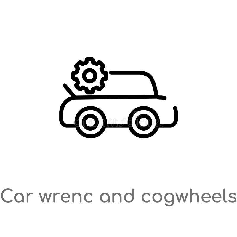 wrenc автомобиля плана и значок вектора cogwheels изолированная черная простая линия иллюстрация элемента от концепции mechanicon иллюстрация штока