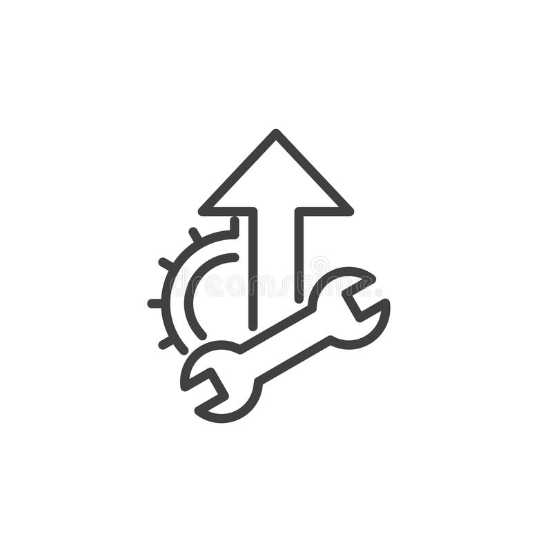 Wrench, cogwheel and up arrow line icon, outline vector sign, linear style pictogram isolated on white. royalty free illustration