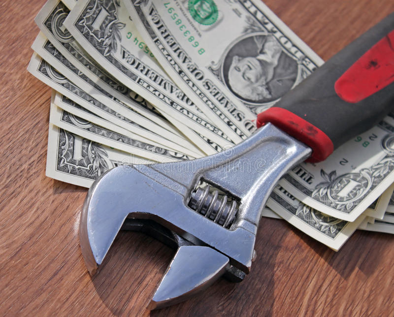 Download Wrench on dollars stock image. Image of crisis, cost - 39505859