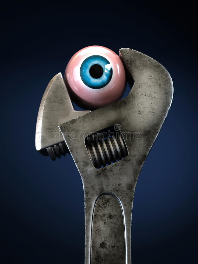 Wrench & Eye. Dirty rusty wrench grips the eye. Close-up isolated on blue background stock illustration