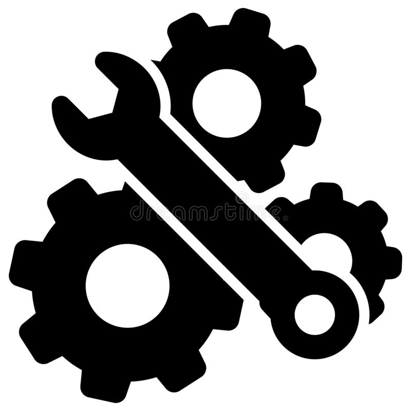 Wrench and Gear Cogwheel Vector Icon. settings illustration symbol. configuration sign. options logo. For web sites or mobile royalty free illustration