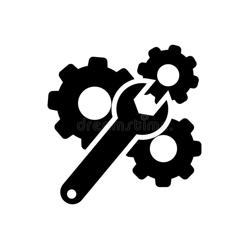 Wrench and Gear Cogwheel Vector Icon. settings illustration symbol. configuration sign. options logo. For web sites or mobile vector illustration