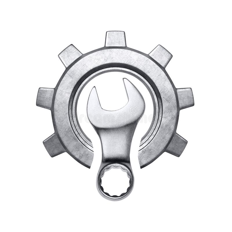 Wrench and gear. Concept isolated on white background royalty free stock photo