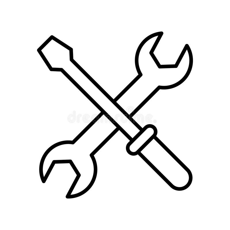Wrench and hammer icon royalty free illustration