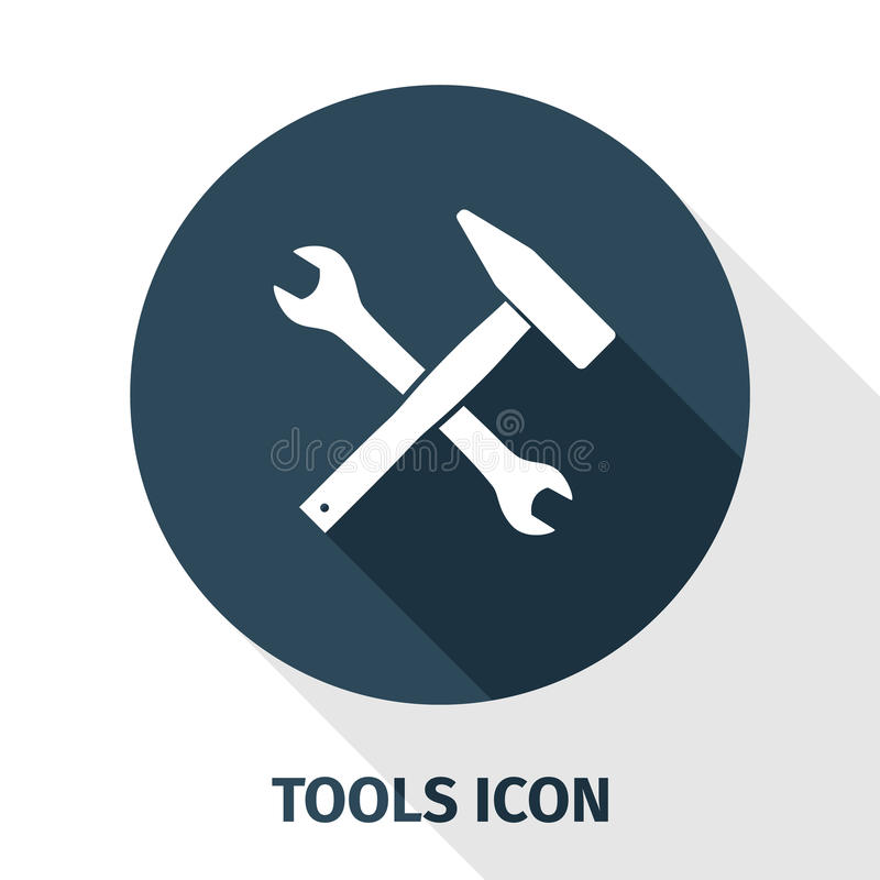Wrench and hammer tool with a shadow underneath royalty free stock images