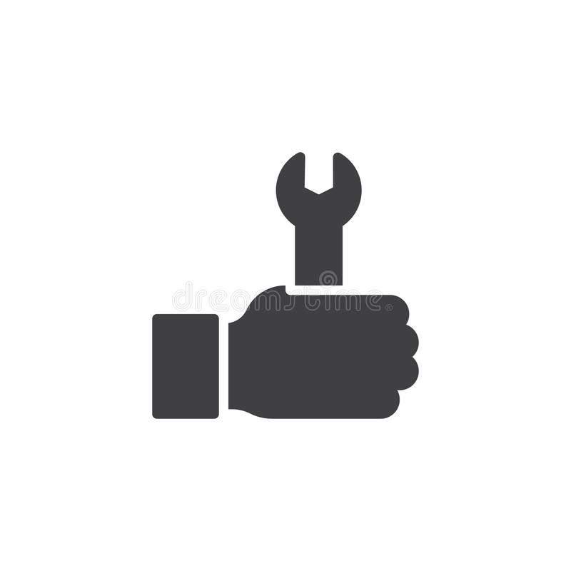Wrench in hand vector icon. Filled flat sign for mobile concept and web design. Construction and repair simple solid icon. Symbol, logo illustration. Pixel royalty free illustration