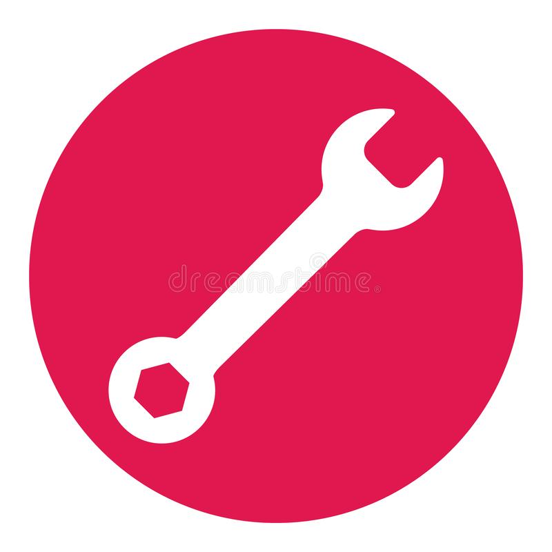 Wrench icon in flat style isolated on white background. Spanner symbol for your web site design, logo, app, UI etc.  royalty free illustration
