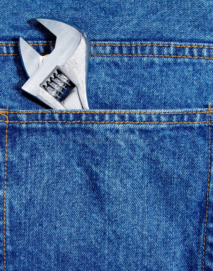 Wrench In Jean Pocket Royalty Free Stock Photos