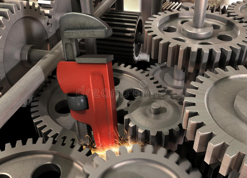 Download Wrench in the Machine stock illustration. Image of equipment - 14390130