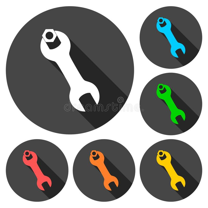 Wrench and nut icons set with long shadow. Vector icon royalty free illustration