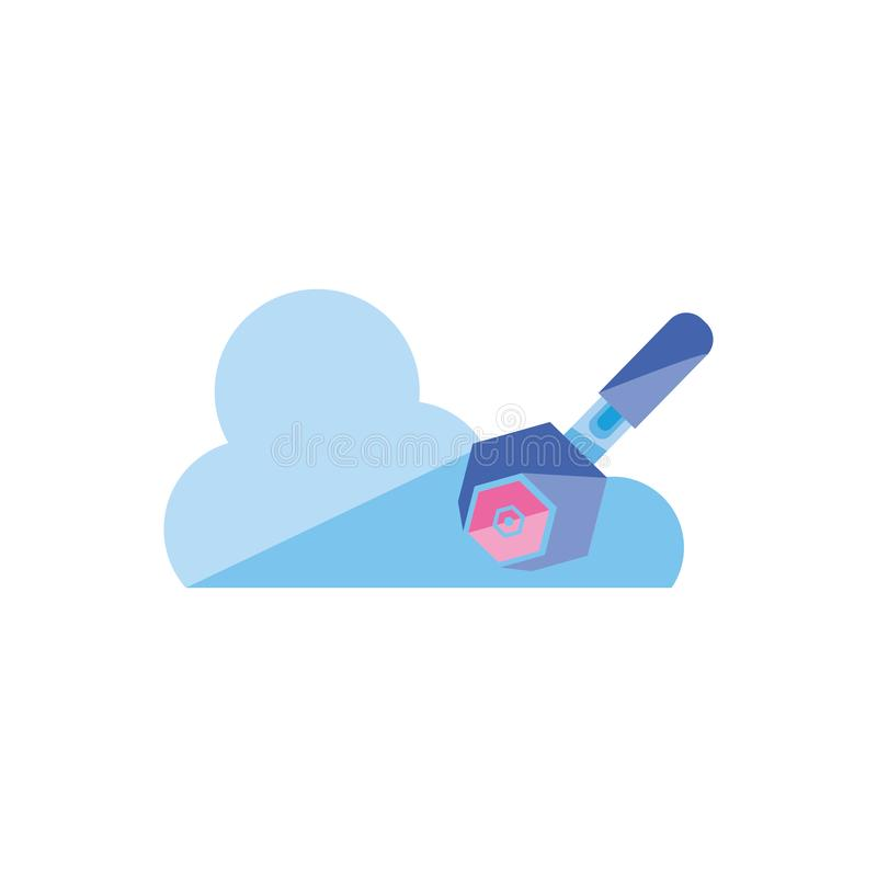 Wrench with nut metal and cloud computing royalty free illustration