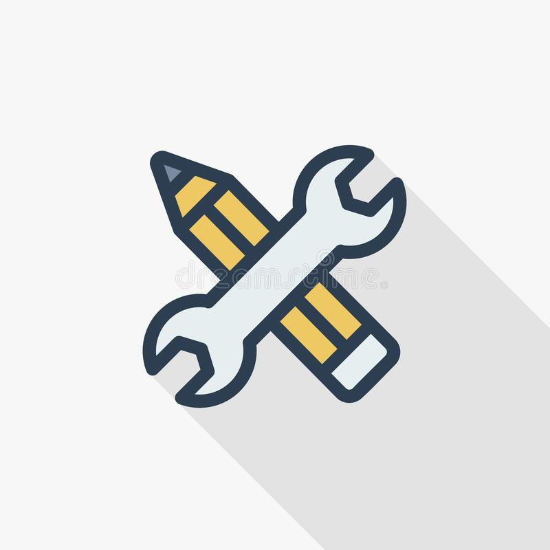 Wrench and pen, installation, design thin line flat color icon. Linear vector symbol. Colorful long shadow design. royalty free illustration