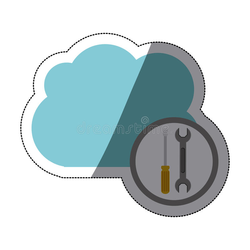 Wrench screwdriver and cloud design vector illustration