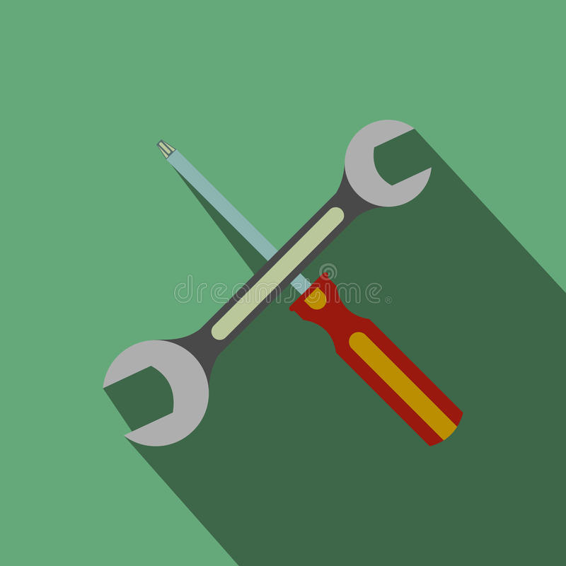 Wrench and screwdriver flat icon with shadow. On a green background royalty free illustration