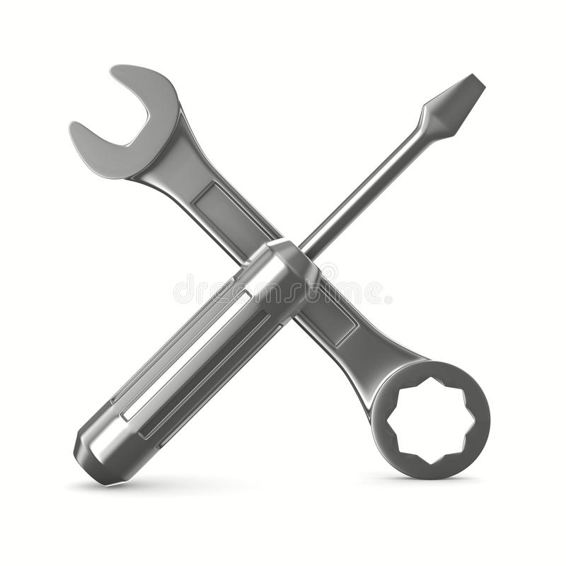 Download Wrench And Screwdriver On White Background Stock Illustration - Image: 21406109