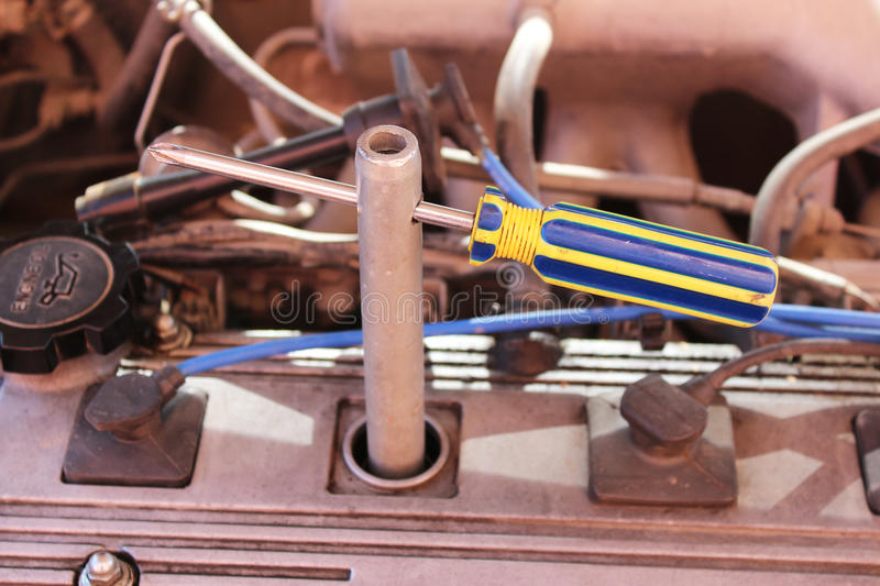 Wrench for spark plugs stock photography