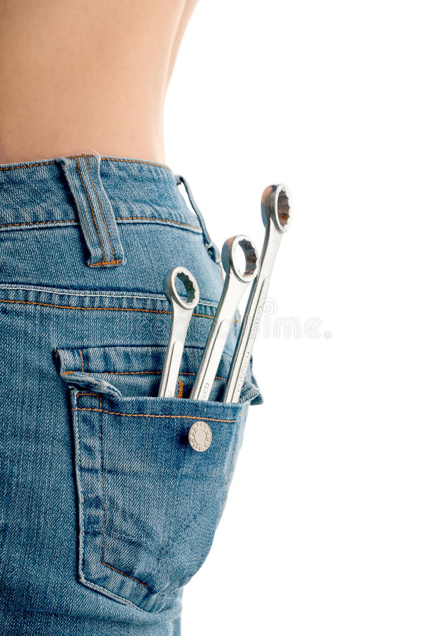 Free Wrenches In An Attractive Females Back Pocket Stock Photos - 10726683