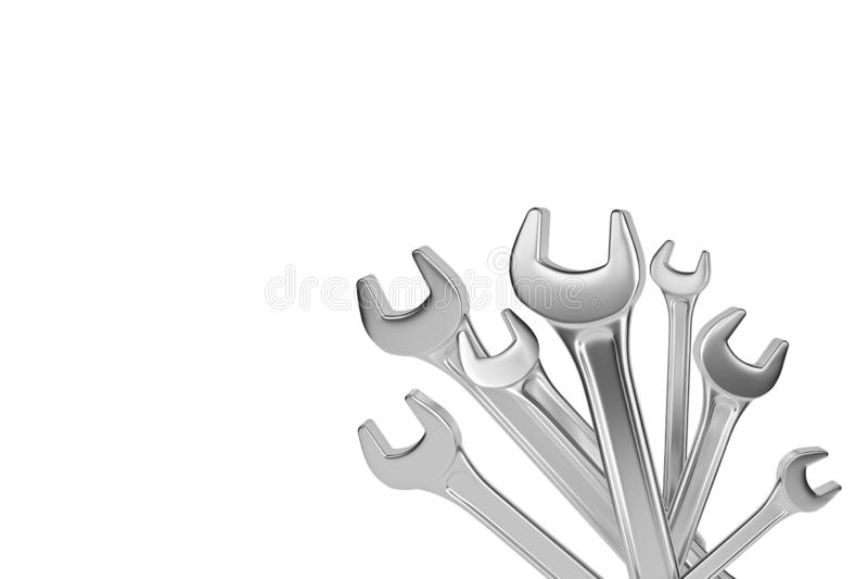 Απομονωμένος wrenchs τρισδιάστατη απόδοση απεικόνιση αποθεμάτων