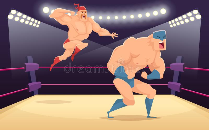 Wrestler fighters cartoon. Cartoon martial characters at ring funny action vector sport background. Illustration of wrestler fighter on ring, tradition costume royalty free illustration