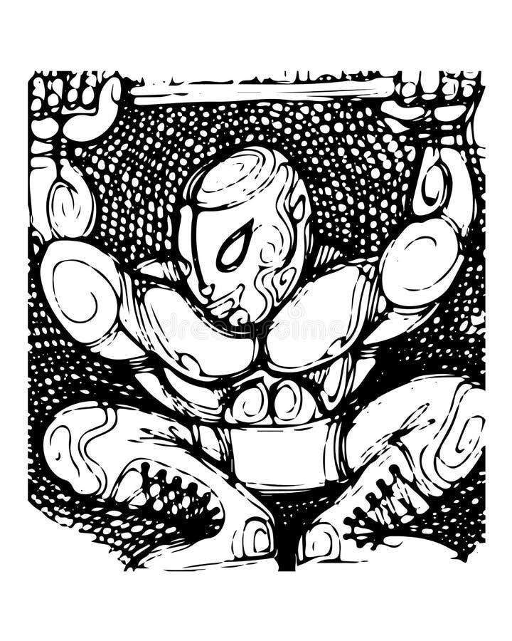 Wrestler. Hand drawn illustration of a wrestler royalty free illustration