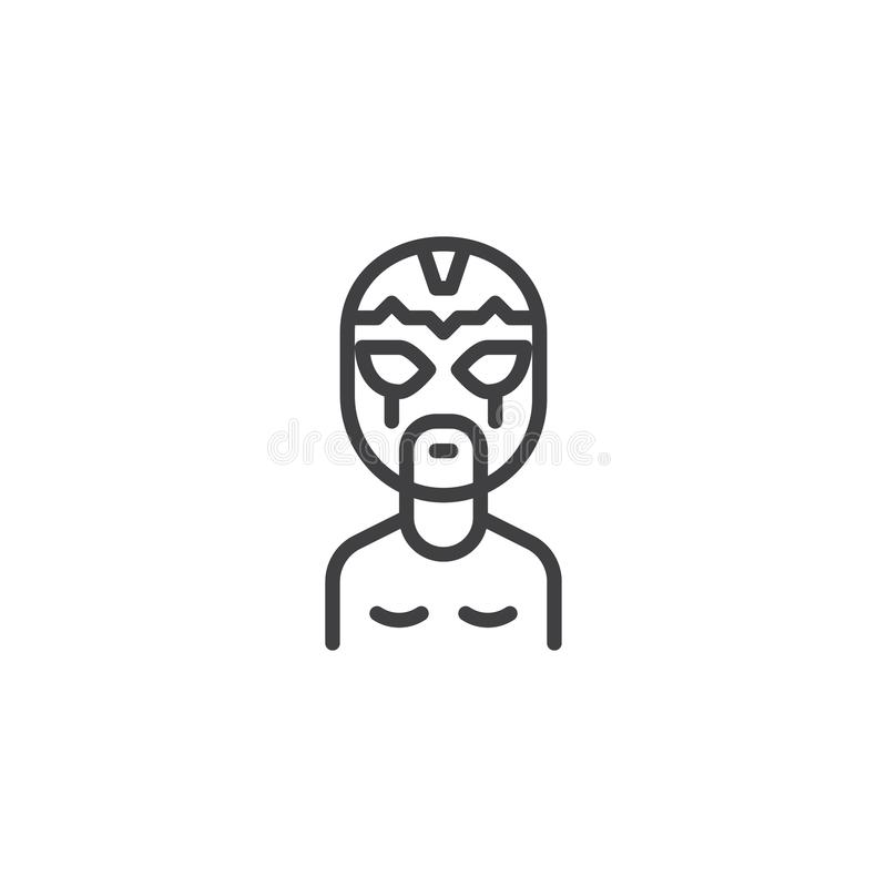 Wrestler man in wrestling mask outline icon. Linear style sign for mobile concept and web design. athlete portrait simple line vector icon. Symbol, logo royalty free illustration