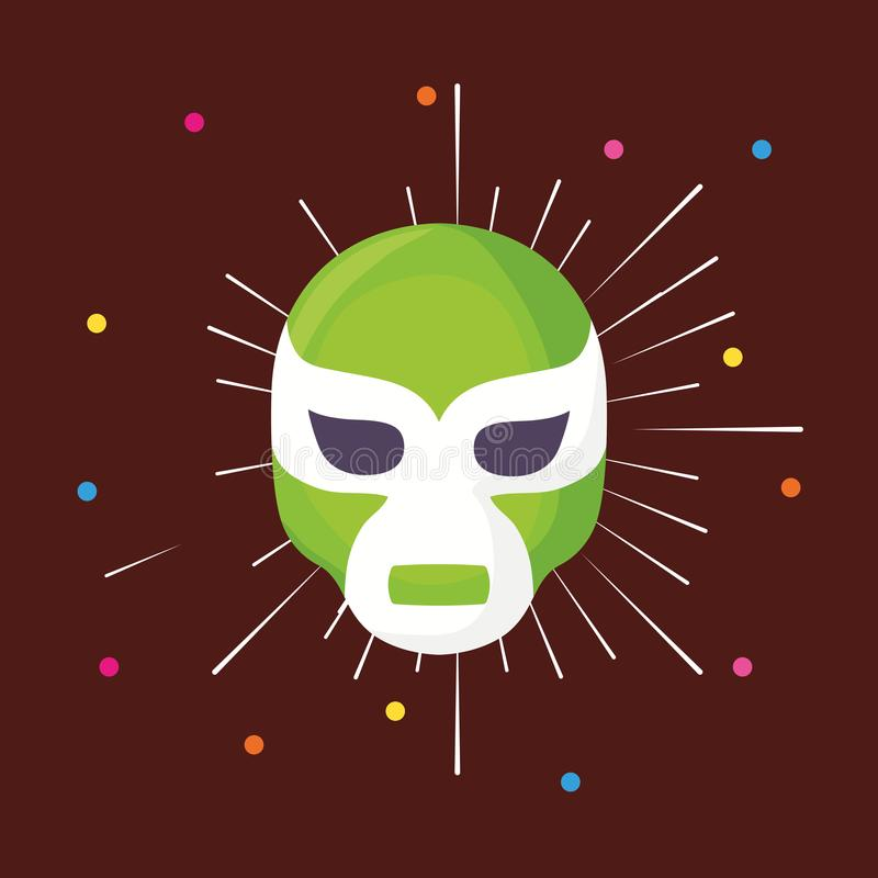 Wrestler mask icon. Wrestler mask with colorful dots around over brown background, colorful design. vector illustration stock illustration