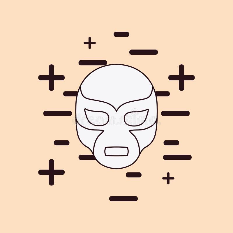 Wrestler mask icon. Over orange background, colorful line design. vector illustration royalty free illustration
