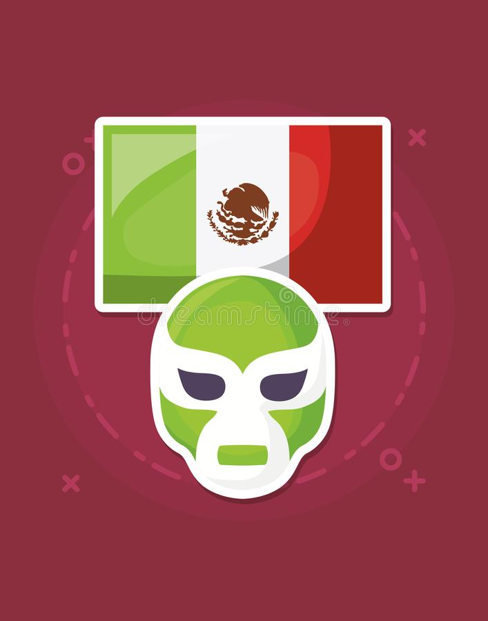 Wrestler mask icon. Wrestler mask and mexican flag over red background, colorful design. vector illustration vector illustration