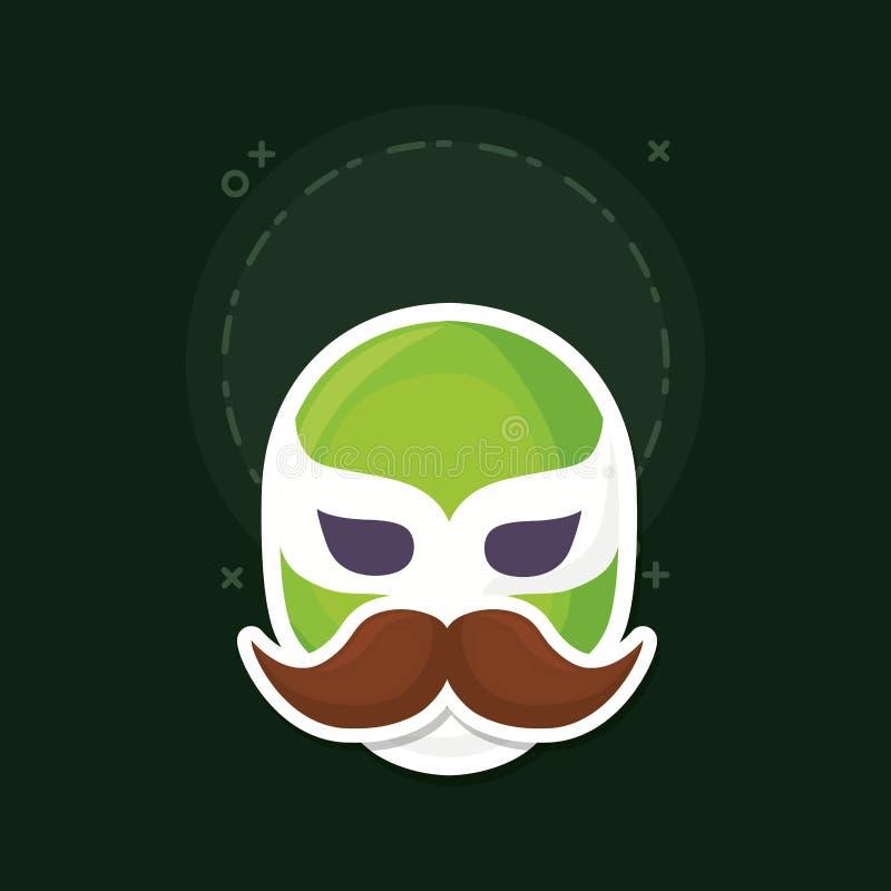 Wrestler mask icon. Wrestler mask with mustache over green background, colorful design. vector illustration vector illustration