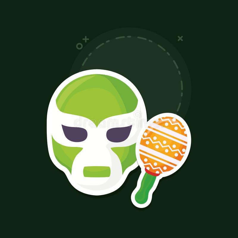 Wrestler mask icon. Wrestler mask and maracas over green background, colorful design. vector illustration royalty free illustration