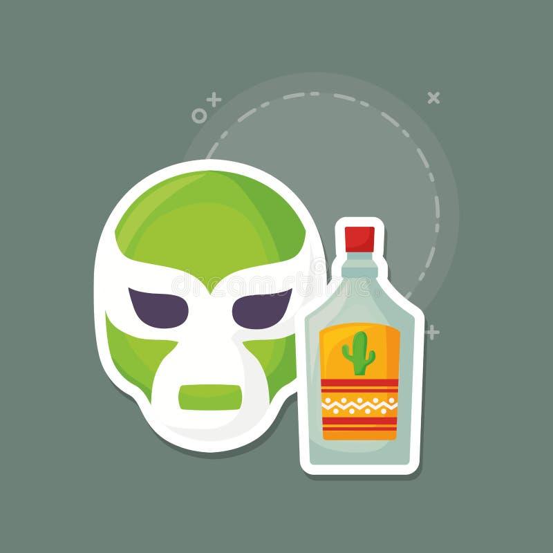 Wrestler mask icon. Wrestler mask and tequila bottle over green background, colorful design. vector illustration vector illustration