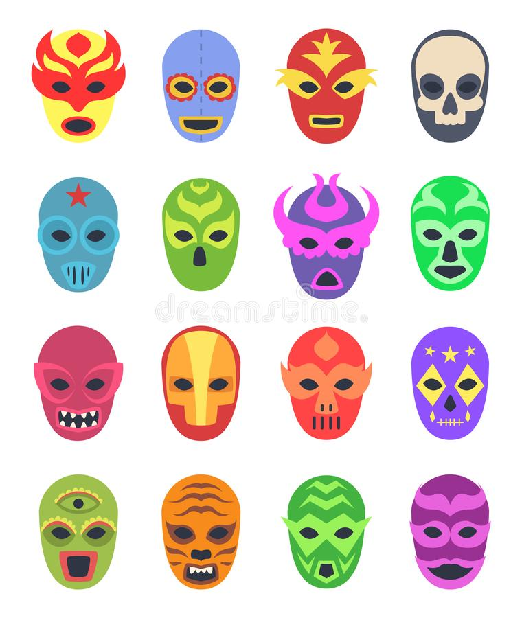 Wrestler masks. Mexican martial fighters sport clothes colored lucha libre masked vector collection. Illustration of wrestler mask, mexico entertainment royalty free illustration