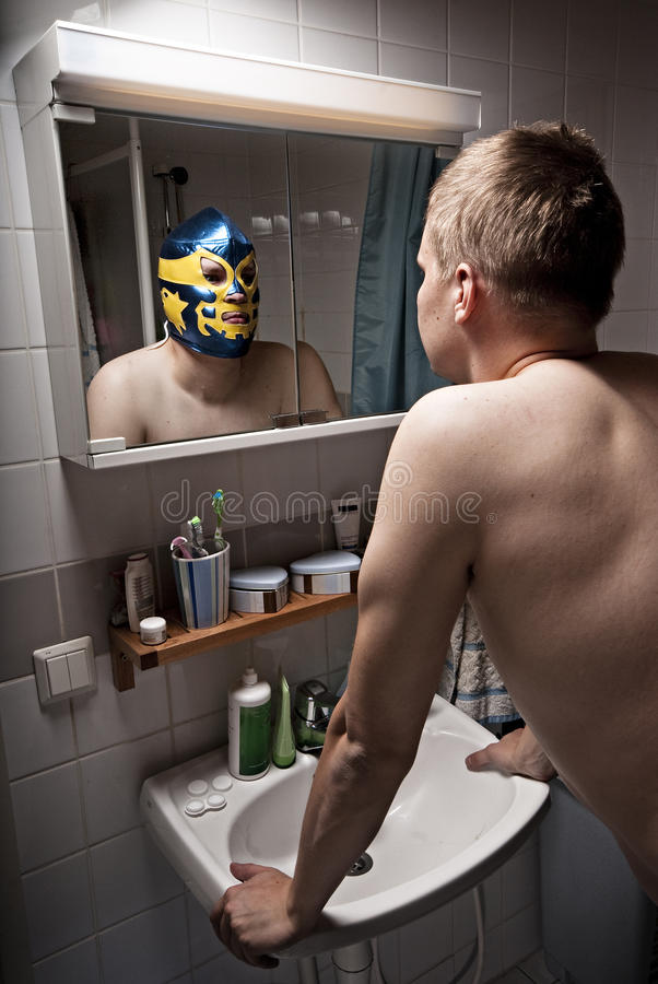 Wrestler in mirror. stock image