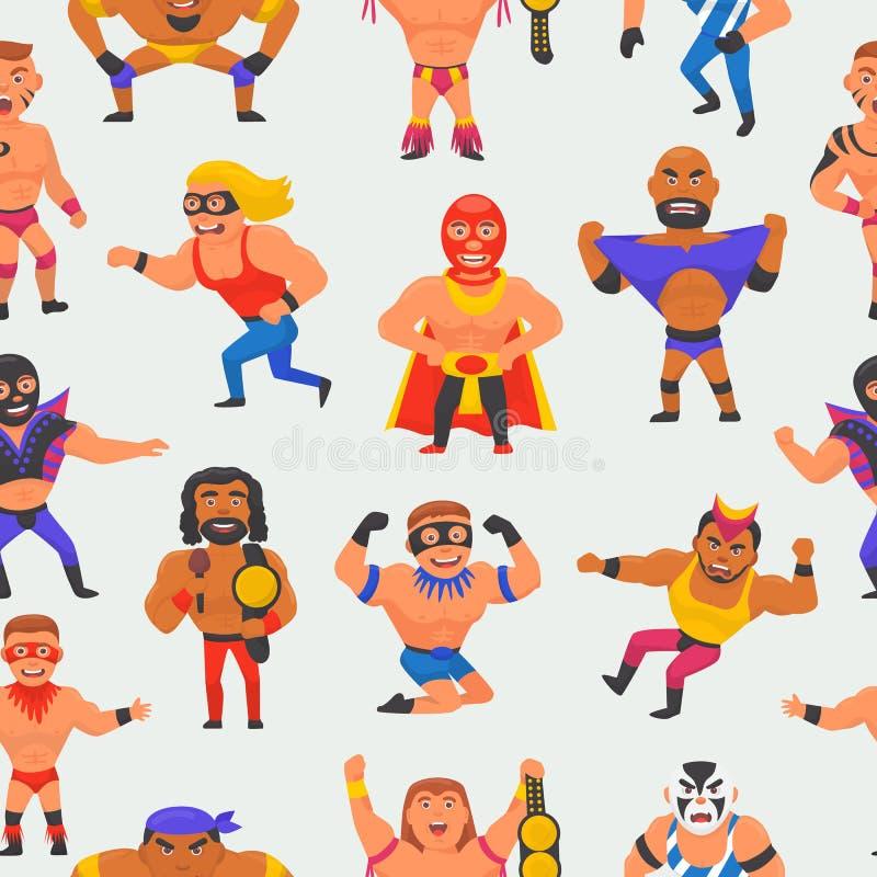 Wrestler vector masked man character and masking luchador in wrestling fight illustration set of wrestle sportsman in. Costume seamless pattern background stock illustration