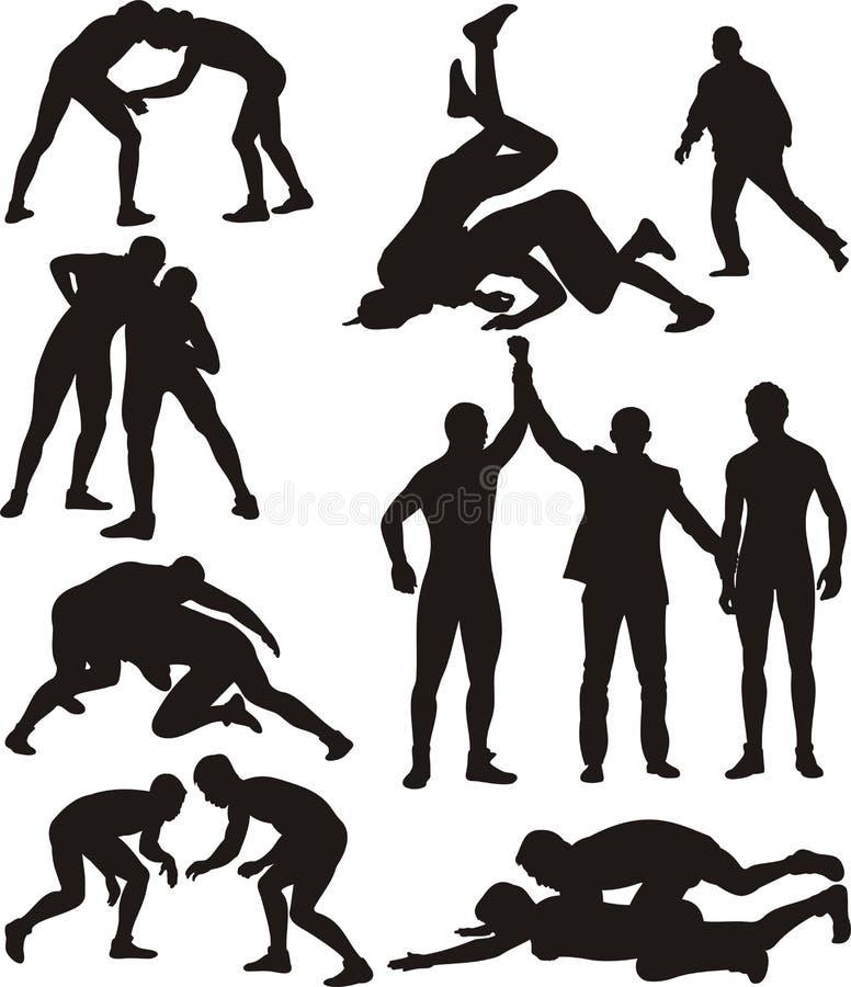 Wrestling силуэты бесплатная иллюстрация