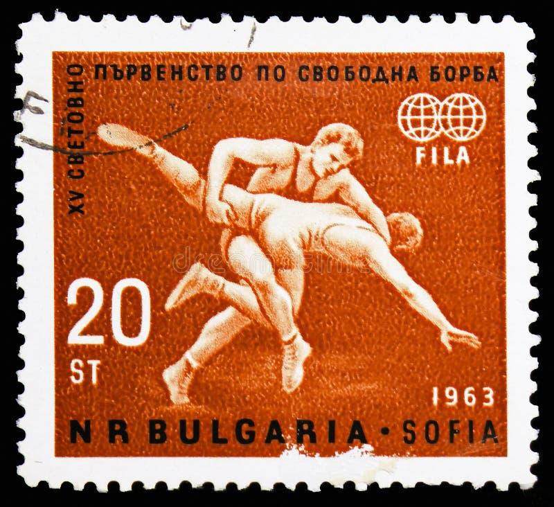 Wrestling сцена, чемпионаты мира в serie Wrestling фристайла, около 1963 стоковые фото