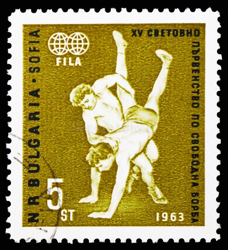 Wrestling сцена, чемпионаты мира в serie Wrestling фристайла, около 1963 стоковая фотография rf