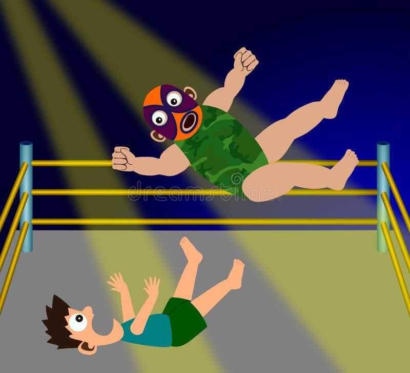 Wrestling. A humorous illustration of two cartoon wrestlers having a wrestling match stock illustration