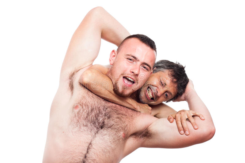 Wrestling. Two funny naked men fighting and wrestling, isolated on white background stock photos