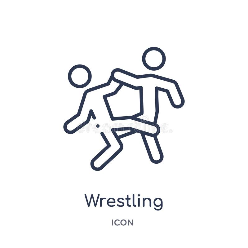 Wrestling icon from olympic games outline collection. Thin line wrestling icon isolated on white background royalty free illustration