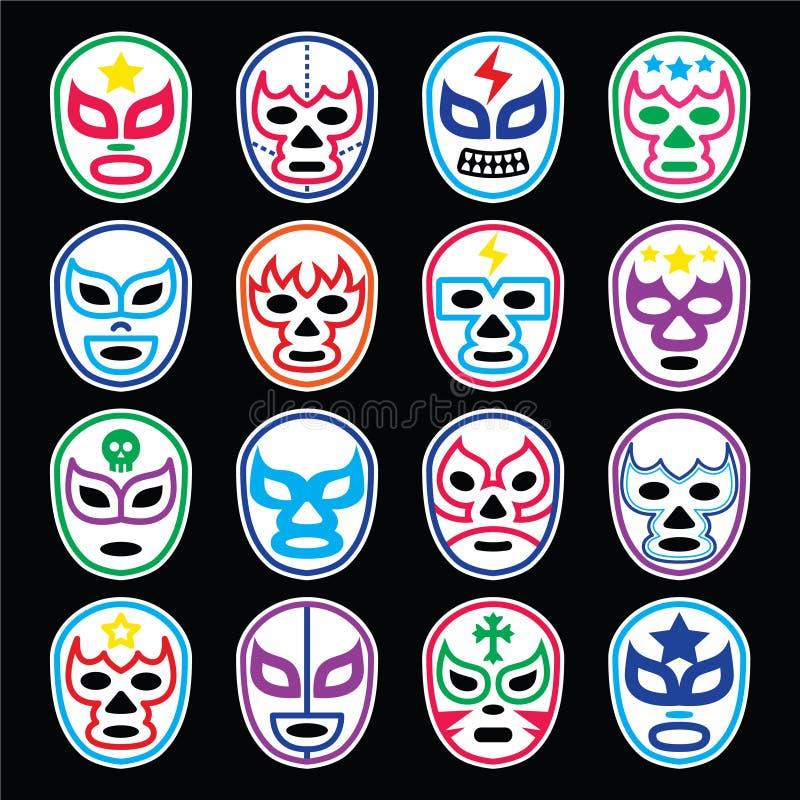 Wrestling Lucha Libre мексиканский маскирует значки на черноте иллюстрация штока