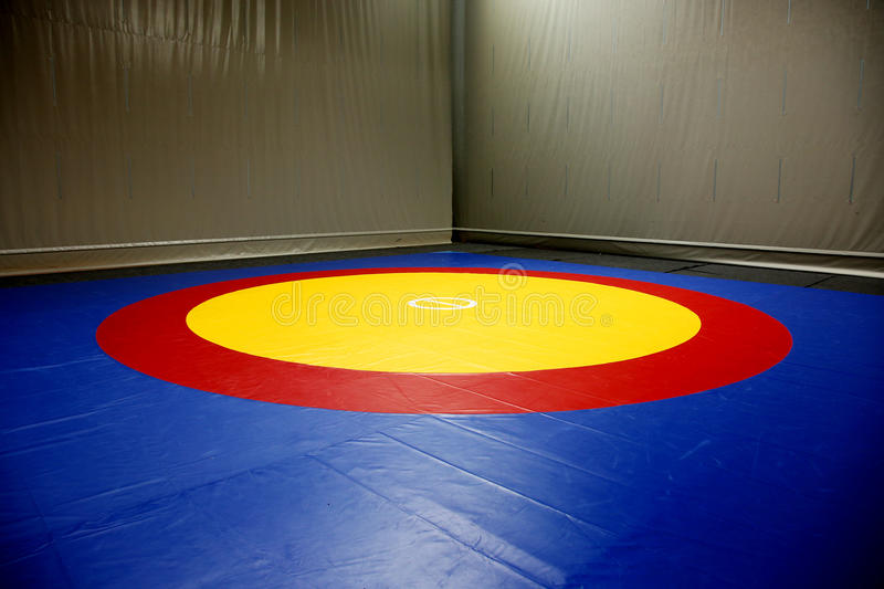 The wrestling mat. The hall with wrestling mat royalty free stock photo