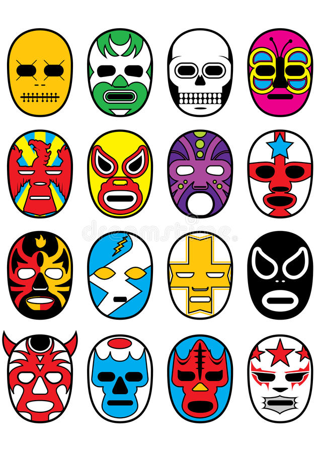 Wrestling Mexican Lucha Masks royalty free illustration