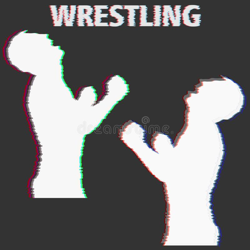 Wrestling silhouette banner glich effect. Vector stock illustration